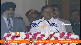 KCR Takes Oath As Telangana CM At Raj Bhavan | KCR Swearing-in Ceremony | iNews - INEWS
