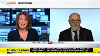 Shadow Cabinet Office Minister Jon Trickett speaks on the Carillion collapse - SKYNEWS