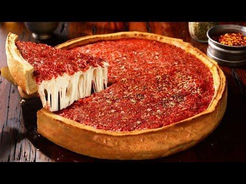 بيتزا شيكاغو بطبقتين | محشية, مقرمشة ,هشة وطرية (بالقالب العميق)Chicago-style pizza