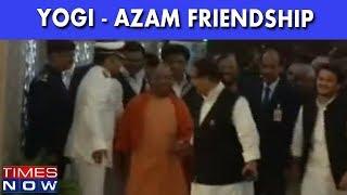 UP CM Yogi Aditynath & SP's Azam Khan Seen Holding Hands | Foes Turn Friends? - TIMESNOWONLINE