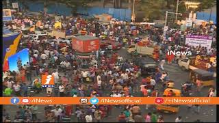 Ganesh Immersion Underway at Telugu Talli Flyover | Ganesh Nimajjanam 2018 | iNews - INEWS