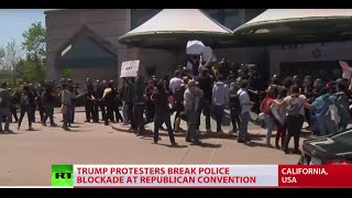 'Polarizing & extreme populist': Trump protesters rush California GOP convention - RUSSIATODAY
