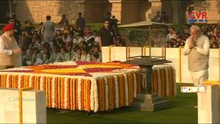 PM Modi pays homage to Mahatma Gandhi at Rajghat | CVR News - CVRNEWSOFFICIAL