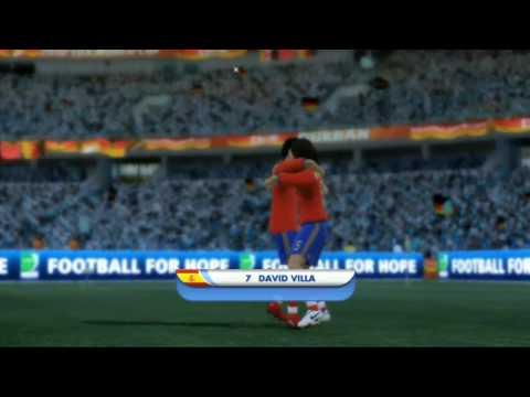 Spania vs tyskland VM-kamp simulert ved hjelp av FIFA World Cup 2010 sør