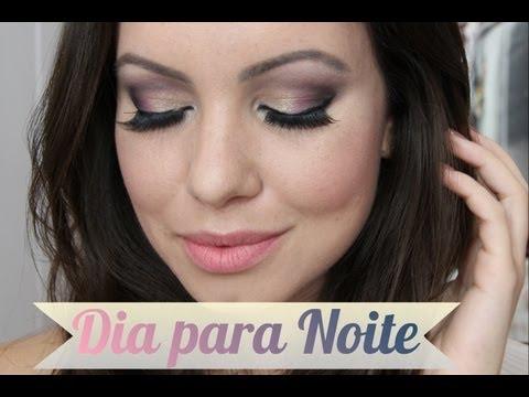 Maquiagem Rosa com Preto e Glitter   Transformando a Make do Dia para Noite