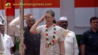 Sonia Gandhi Hoists the National Flag at AICC Party Office   Mango News - MANGONEWS