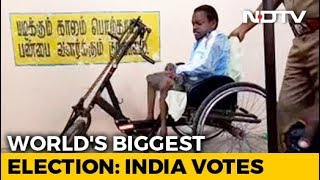 This Differently-Abled Man Reaching A Polling Booth To Vote Is Winning Hearts - NDTV
