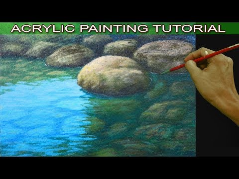 how to paint shallow river with rocks in acrylic