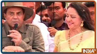 Actor Dharmendra recalls 'Sholay' dialogue, campaigns for Hema Malini in Mathura - INDIATV
