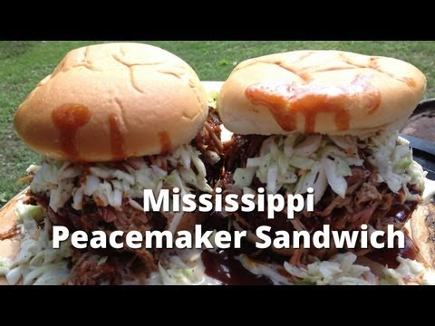 Mississippi Peacemaker Sandwich - BBQ Bologna, Pulled Pork and Coleslaw Sandwich