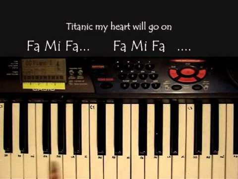 Titanic: my heart will go on en piano (basico) con notas.