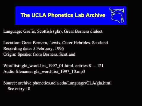 Gaelic, Scottish audio: gla_word-list_1997_10