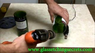 [Smoothly Finishing a Cut Glass Bottle by Sanding Edges]