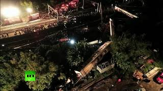 Aftermath of train derailment in Taiwan (AERIAL FOOTAGE) - RUSSIATODAY