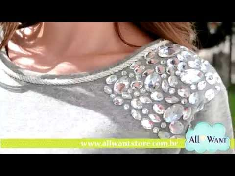 Moletom Feminino com Pedraria | All Want Store Loja Virtual