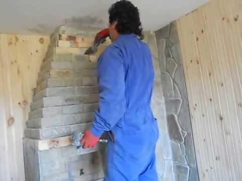 Изграждане на камина от Валмарг стоун.