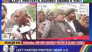 Left parties  hold protest against U.S President's India visit - NEWSXLIVE