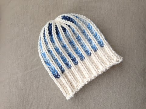 Bicolor Brioche Stitch Hat Tutorial [Loom Knitting]