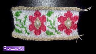 Жаккардовые узоры. Жаккард. Цветы. Вязание спицами # 428
