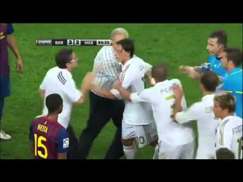 Real Madrid vs Barcelona Supercopa Brawl in Spanish August 17 2011 Fabregas Ozil Villa Red Card