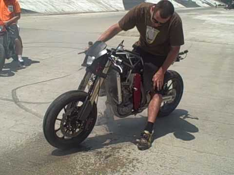 Incredible Front Wheel CHRISTINI AWD Motorcycle Burnout!