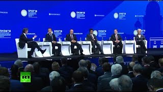 Putin, Macron, Abe & Lagarde take part in SPIEF plenary session - RUSSIATODAY