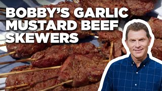 Bobby's Garlic Mustard Beef Skewers | Food Network - FOODNETWORKTV