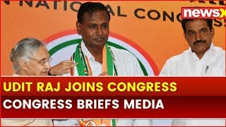 Udit Raj Joins Congress; Randeep Surjewala Briefs Media along with Sheila Dikshit - NEWSXLIVE