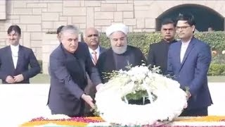 Iranian President Hassan Rouhani pays tribute to Mahatma Gandhi at Rajghat - TIMESOFINDIACHANNEL