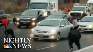 Hundreds Of Thousands Of Dollars Spill Out Of Truck Onto New Jersey Highway | NBC Nightly News - NBCNEWS