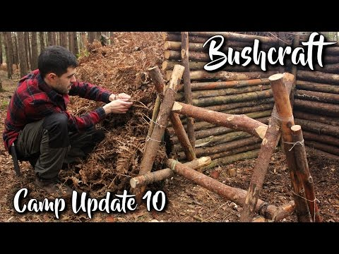 Bushcraft Camp Update 10 - Natural Shelter expansion, Camp Construction, Axe, Knife & Saw work