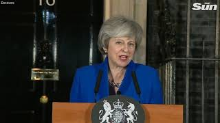 PM Theresa May statement outside Number 10 after winning the vote of confidence - THESUNNEWSPAPER