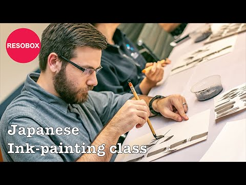 Japanese Ink-painting class on 8/19