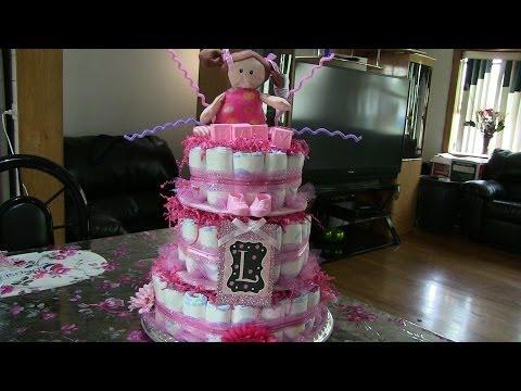 COMO HACER UN PASTEL DE PAñALES PARA BABY SHOWER HOW TO MAKE PAMPER CAKE