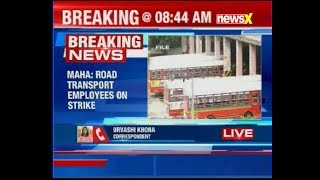 Maha State Road Transport Corporation employees on strike for salary hike - NEWSXLIVE