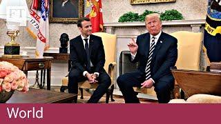 Trump brushes dandruff from Macron's suit - FINANCIALTIMESVIDEOS