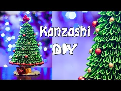 Ёлка канзаши, мастер класс / DIY: Kanzashi Christmas tree