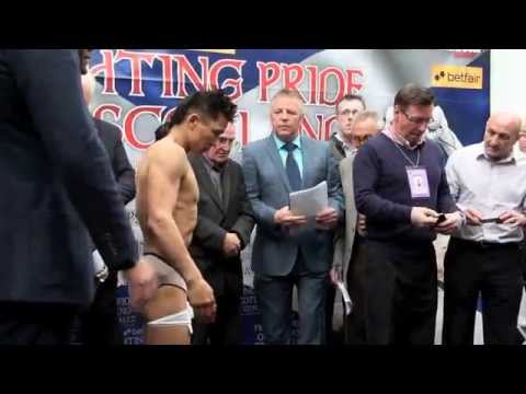 JOHN SIMPSON v CHOI TSEVEENPUREV - OFFICIAL WEIGH-IN / iFILM LONDON  / FIGHTING PRIDE OF SCOTLAND