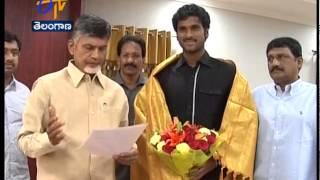 CM Chandrababu Felicitates Tennis Player Saketh Mynani - ETV2INDIA