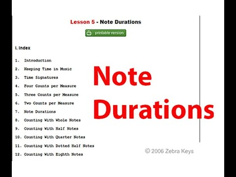 Piano Lesson 5 - Music Notation | Note Durations