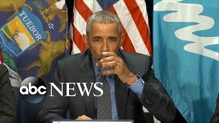 President Obama Drinks Glass of Filtered Flint Water - ABCNEWS