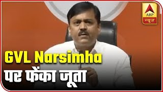 Delhi: Man hurls shoe at BJP MP GVL Narasimha Rao - ABPNEWSTV