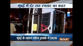 Speeding truck turns turtle in Mumbai,driver and cleaner injured - INDIATV