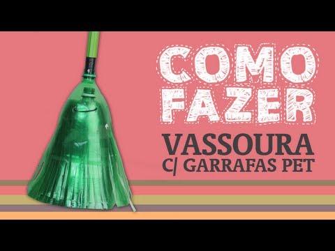 Como Fazer uma vassoura com garrafas PET / How to: Broom with plastic bottles