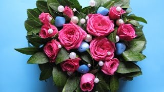 Композиция - Сердце из живых цветов, жемчужин и натуральных камней
