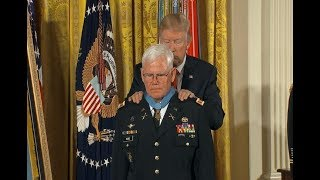 President Donald Trump awards medal of honor to Vietnam medic Retired Army Captain Gary Michael Rose - ABCNEWS