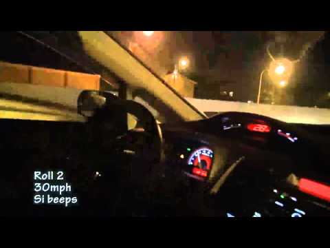 '09 Civic Si full-race 3076r turbo vs. E55 AMG pulley tune 30 &amp; 40 mph rolls