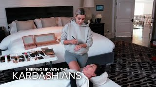 KUWTK | Kim Kardashian West Practices Mortician Makeup on Kris | E! - EENTERTAINMENT