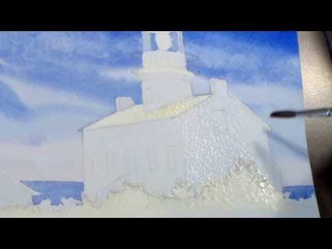 Painting a Lighthouse in Watercolor: Step Four - Adding Shadows to the Buildings