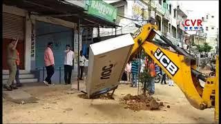 Ghmc Officials Footpath Encroachment Demolition | Hyderabad | CVR News - CVRNEWSOFFICIAL